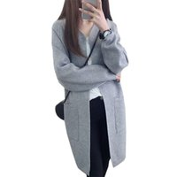 Wholesale College Student Clothing - Wholesale- 2016 autumn cardigan coat new long sweater women college wind sweaters students loose thicker jacket clothing vestidos MMY253