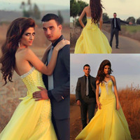 Wholesale Traditional Beaded Lace - 2016 New Yellow African Traditional Crystal Prom Dresses Sweetheart Beaded Chiffon Mermaid Backless Evening Gowns BO8940