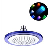 "Wholesale Glass Led Shower Heads - Drop and free shipping 7 colors 8"" Glass Rainfall Round Bathroom Shower Head RGB LED Flash Light"