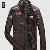 Wholesale Motorcycle Jacket Men Leather Slim - 2016 New Brand Motorcycle Leather Jackets Men Autumn and Winter Leather Clothing Men Leather Jackets Male Business casual Coats