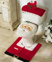 Wholesale bathroom rugs toilet covers for sale - Group buy Fashion Hot Happy Santa Toilet Seat Cover Rug Bathroom Set Christmas Decorations