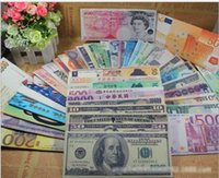 Moda Chic Womens Mens Unisex Currency Notes USD Dólar GBP Pound AUD EURO Carteira Wallet Padrão
