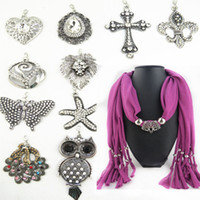 Wholesale Scarf Jewelry Mixed Crosses - 10 Designs Mixed Pendant Scarf Jewelry With Beads Colorful Scarves Cross Charms Changeable Moveable magic shawl