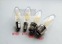 globo levou lâmpadas 27w venda por atacado-10 pçs / lote B15D 4 W COB LED filamento de luz de velas 2 W 4 W CONDUZIU a lâmpada COB luz B15 Quente branco Regulável AC110V / 220 V frete grátis