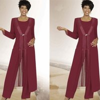 Wholesale Breast Wrap - Burgundy Chiffon Bridal Pant Suits Wedding Mother Of the Bride Suits with Long Jacket Tassel Formal Evening Party Outfits with Wrap Vestidos