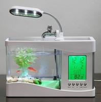 Wholesale mini plastic clocks - 1set Mini USB LCD Desktop Black Fish Tank Aquarium Clock Timer Calendar LED Light Mini USB LCD Desktop Timer Calendar Clock LED Lamp Light