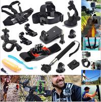 kit de montaje del casco al por mayor-12 en 1 GoPro Accessories Set Go pro Correa para la muñeca + Casco Extensión Kits Mount + Pecho Cinturón de montaje + Bobber Para Go-pro Hero