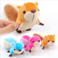 Wholesale Toy Car Backpack - New squirrel backpack Pendant cartoon squirrel plush toys keychains 8cm Stuffed Animals key ring 50pcs YYA883