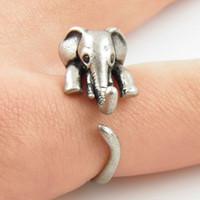 anéis modernos para meninas venda por atacado-Animal elefante Envoltório Anéis para As Mulheres e Meninas Original Na Moda Retro Vintage Anel Moda Jóias