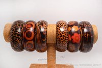 2016 New Fasgion Jóias Wholesale Lots 12 pcs Grande Lampwork misturado Braceletes de madeira natural Bangle 67-69mm