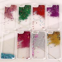 Wholesale Good Flows - Colorful Flow Sand with Stars Case For Iphone6 ,6 Plus ,5S ,5, 4 Clear back PC case good quality free shipping