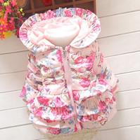 Wholesale flower jacket children resale online - Girls thicken warm coat baby girl winter cotton padded clothes Children Clothing kids flower outwear baby girl s jacket hooded coats