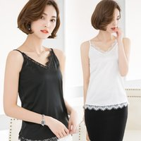 Wholesale T Female Adjustable - Summer Women Slim Lace Neck Camis Sleeveless T Shirts Female Solid Chiffon Camisoles Tank Tops With Adjustable Straps GT6015