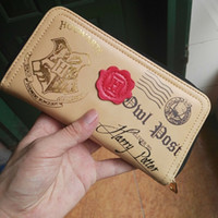 Wholesale Brown Female Leather Wallet - Harry Potter Letter Zip Around Wallet pu Long Fashion Women Wallets Designer Brand Purse Lady Party Wallet Female Card Holder Free shipping1