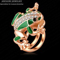 Wholesale Gold Frog Rings - Wholesale-High Quality Cute Animal Ring Real 18K Rose Gold Plated Austrian Crystal Frog Ring Fashion Exaggerated Ring Ri-HQ1029-A
