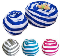 Wholesale Red Stripe Clothing - Kid Stuffed Animal Toy Bean Bag Storage Pouch Soft Stripe Chair Portable Clothes Storage Bag 4 Colors KKA3550
