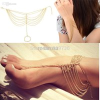 Wholesale Trendy Celebrity Jewelry Wholesale - Wholesale-1PC New Hot Celebrity Simple Plated Toe Ankle Bracelet Anklet Chain Link Foot Women Jewelry Drop Free