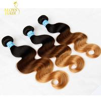 Wholesale Three Tone Weave Hair - Three Tone Ombre Peruvian Virgin Human Hair Extensions 1B 4# 27# 3 Tone Ombre Brown Blonde Peruvian Body Wave Human Hair Weave Bundles