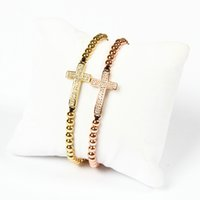New Design Jewelry Wholesale 10pcs / lot New Arrival 4mm Grânulos de latão Micro Paved Clear Double Cz Cross Jesus Braided Braided For Gift