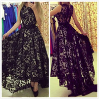 Wholesale Evening Dresses High Low Maxi - Black Lace High Low Evening Dresses Sleeveless Maxi Dresses Sheer Back Crew Arabic Pageant Dresses Prom Gown vestido verao 2016