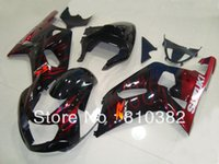 Wholesale Gsxr K1 Fairing - Injection fairing kit for SUZUKI GSXR 600 750 01 02 03 GSXR 600 GSXR750 K1 2003 2001 2002 red flames black trim set SM67
