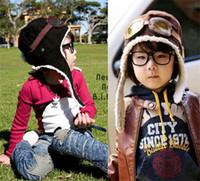 Wholesale Earflap Beanies For Kids - 200PCS HOT 2 colors children winter pilot hat Cute Baby for Boy Girl Kids Pilot Aviator Cap Warm Hats Earflap Beanie Melee D456