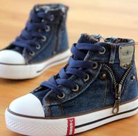 Wholesale Denim Canvas Shoes Boy - 2017 NEw fashion 14 kinds New Arrived Size 25-37 Children Shoes Kids Canvas Sneakers Boys Jeans Flats Girls Boots Denim Side Zipper Shoes