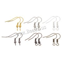 Barato Descobertas De Brincos De Metal Por Atacado-Atacado-100pcs / lot Fish Dangle Metal Iron Earring Clasps Ganchos Lever Back Earring Wires Fittings DIY Jóias Findings Acessórios
