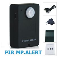 Wholesale Wholesale Wireless Alarm System - hot sell Mini Wireless PIR MP.ALERT Infrared Sensor Motion Detector GSM Alarm A9 EU System Anti-theft