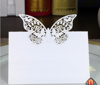 Wholesale Cutting Tables Wholesale - 100pcs Laser Cut Hollow Butterfly Paper Table Card Number Name Card For Party Wedding Place Card Decorate
