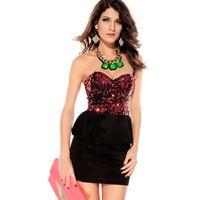 Wholesale Sexy Career Clothing - Fashion Women Summer Vestidos Clothing 2015 New Fashion Sexy Career Strapless Sequin Top Peplum Party Club Mini Dress