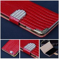 Wholesale S4 Sleeve - For galaxy s4 mini Cases Luxury Diamond Buckle Lizard Leather Flip Wallet Case Cover Pouch Credit Card Sleeve For iphone 6 plus note3 note