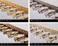 Wholesale Lace Ribbon Decorations - 14yards lot curtain African lace accessories tassel fringe trim pumpkin crystal bead ribbon for drapery sewing decoration zakka patchwork