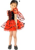 Wholesale Beetle Wings - New Cute red beetle dress headbend and wings 3pcs sets kids party dress Children's Cosplay girls Halloween costumes A6790