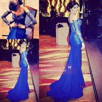 Wholesale Sexy Vneck - Sheer Royal Blue Long Sleeves Custom 2015 Vneck Prom Evening Party Dresses Lace Chiffon Sexy Pageant Celebrity Illusion FormalGowns EV0188