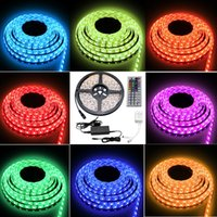 Wholesale Color Change Rope Lighting - Besdata 16.4ft 5M Waterproof Rope Lights 300 LED 5050 SMD Color Changing RedGB+12V 5A Power Supply+44 Key Remote+IR Controller-Muliti-color