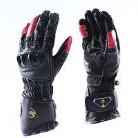 Wholesale Real Leather Men Gloves - Leather Motorcycle Bicycle Sporting Glove Racing Off-road Motocross Riding Cycling Glove Breathable Long Sleeve Black and Red Men