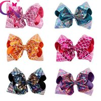Wholesale Mermaid Costume Accessories - 8 Inch Mermaid Boutique Hair Accessories Hair Bow Baby Girls Headband Christmas Party Props Cosplay Costume KKA3596