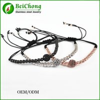 Wholesale Crystal Beads Strands 4mm - BC Jewelry Atolyestone bracelet made from 24K Gold 4mm beads and 8mm Micro Pave Black CZ Beads Briad Macrame Bracelet for Men BC-196