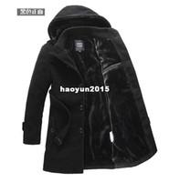 Wholesale Men S Woollen Coats - 2014 winter trench coat men, fashion long overcoat men,hot sale woollen coat, thickening Men's clothing,Size M-4XL free shipping