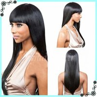 Wholesale Straight Bang Long Curly Wig - Lace Front Full Lace Wigs Natural Straight With Bangs In Stock Unprocessed Cheap Grade 7A Brazilian Virgin Human Hair Wigs