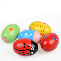 Wholesale toy wooden eggs for sale - Group buy Exquisite Wood Sand Egg Baby Educational Wooden Ball Toy Musical percussion Instrument for infant Cute Gift C3321