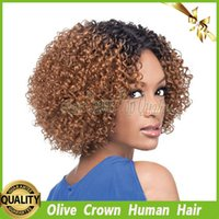 Virgin Peruvian Kinky Curly Blonde Ombre Full Lace Wigs Glueless Cabelo Humano Lace Front Wig Two Tone Color # 1b / 30 com Baby Hair