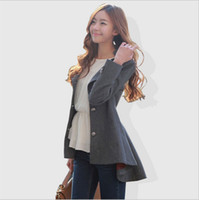 Wholesale Womens Wool Coats Sale - Hot sale 2015 Winter Coats for Women Korean Long-Sleeved Solid Button Dovetail Wool Coat Outerwear Winter Womens Coats for Winter