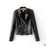 Wholesale Quilt Collar - Wholesale- Spring Autumn Brand Women Fashion Stand Collar Quilt Pocket Zippers Handsome PU Leather Jacket Ladies Cool Slim Short Jackets