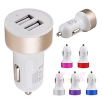 Wholesale Port Work - For iphone 6 6S Car Charger Metal Universal 2 USB port works with Most USB cables for Samsung Galaxy S6 Note 5 plus