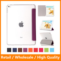 Wholesale Apple Ipad Magnetic Cover - For Apple iPad Pro 12.9inch Ultra Thin Magnetic Front and Hard Transparent Back Flip Leather PU Case with Stand Phone Tablet Covers