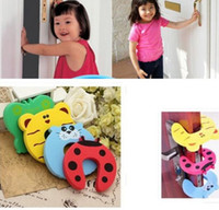 Wholesale Safety Plug Lock - Door Stop Safety Animal Cartoon Door plug for baby Safety Gates security stopper Door clip Lock Pinch Guard Baby Finger Protector KKA3198