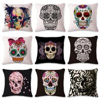 2017 Vintage Punk Skull Cotton Throw Throw Case Cojín Del Sofá Funda de Almohada Decoración Para El Hogar Nap Pillow Cover Seat Free DHL XL-422