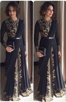 Wholesale Long Sleeve Jersey Gown Pageant - 2016 Black Arabic Prom Dresses Long Sleeve with Gold Appliques A Line Chiffon Formal Evening Gowns Full Length Pageant Vestido De Festa